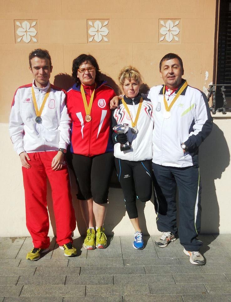 Els quatre medallistes veterans del CAM Avinent Manresa