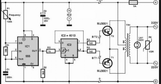 12vdc to 220vac inveter using ic 555