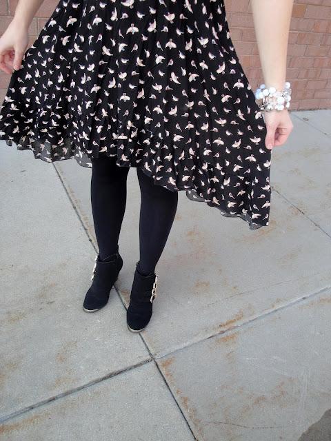 birds, bird dress, birdy, high low dress, hi lo dress,