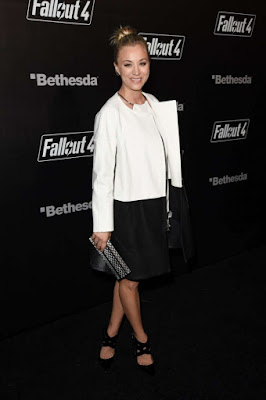 Kaley Cuoco shows legs at the Fallout 4 Launch in LA