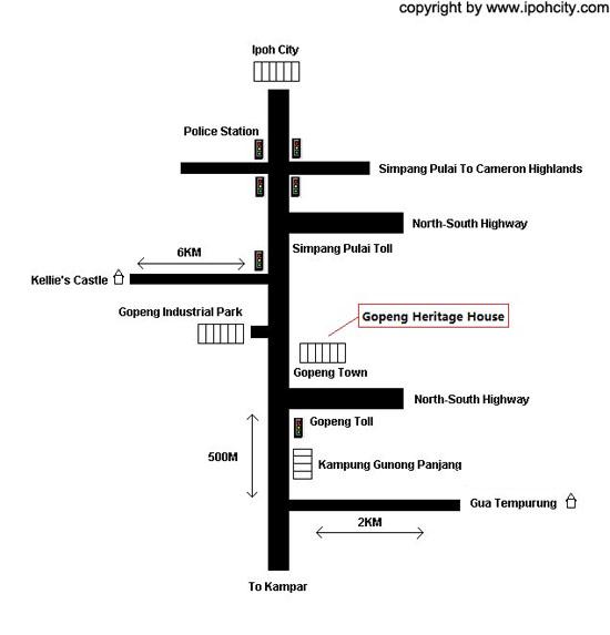 Map to Heritage House Muzium Gopeng Perak Malaysia