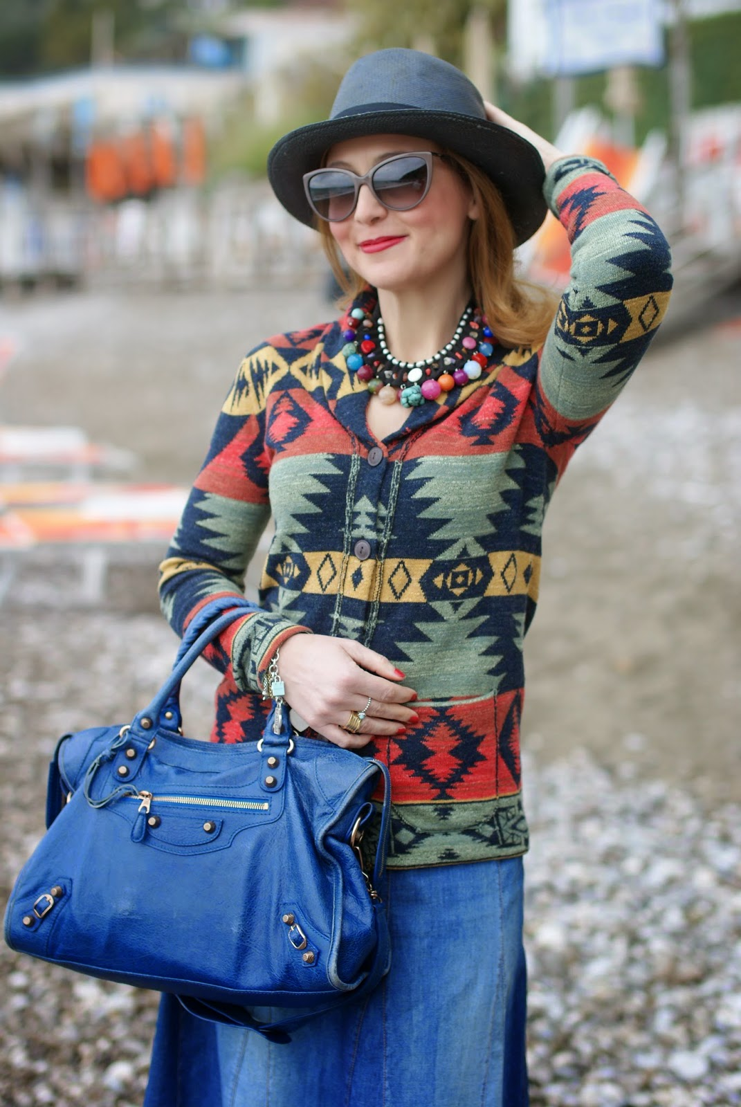Denim & Supply Ralph Lauren, Ethnic print cardigan, Denim & Supply shawl cardigan, serape cardigan,  Ecua-Andino panama hat, Fashion and Cookies, fashion blogger