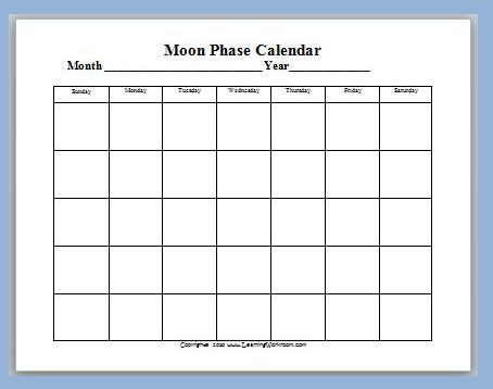Moon Phase Calendar Template | New Calendar Template Site