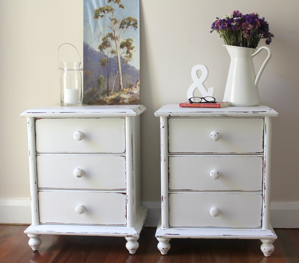 Lilyfield life shabby chic white bedside tables - Bedside tables small spaces decor ...