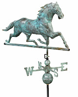 Antique Blue Verde Horse Weathervane