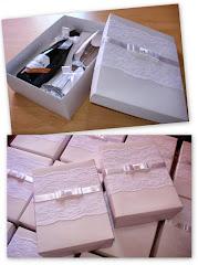 Caixa para Espumante e Taça - com renda e laço Chanel
