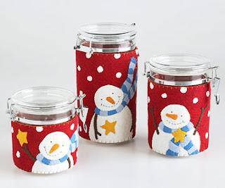 Potes decorados com feltro para o natal