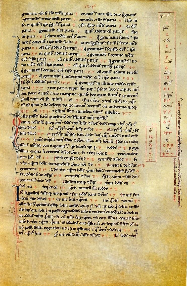 http://en.wikipedia.org/wiki/File:Liber_abbaci_magliab_f124r.jpg