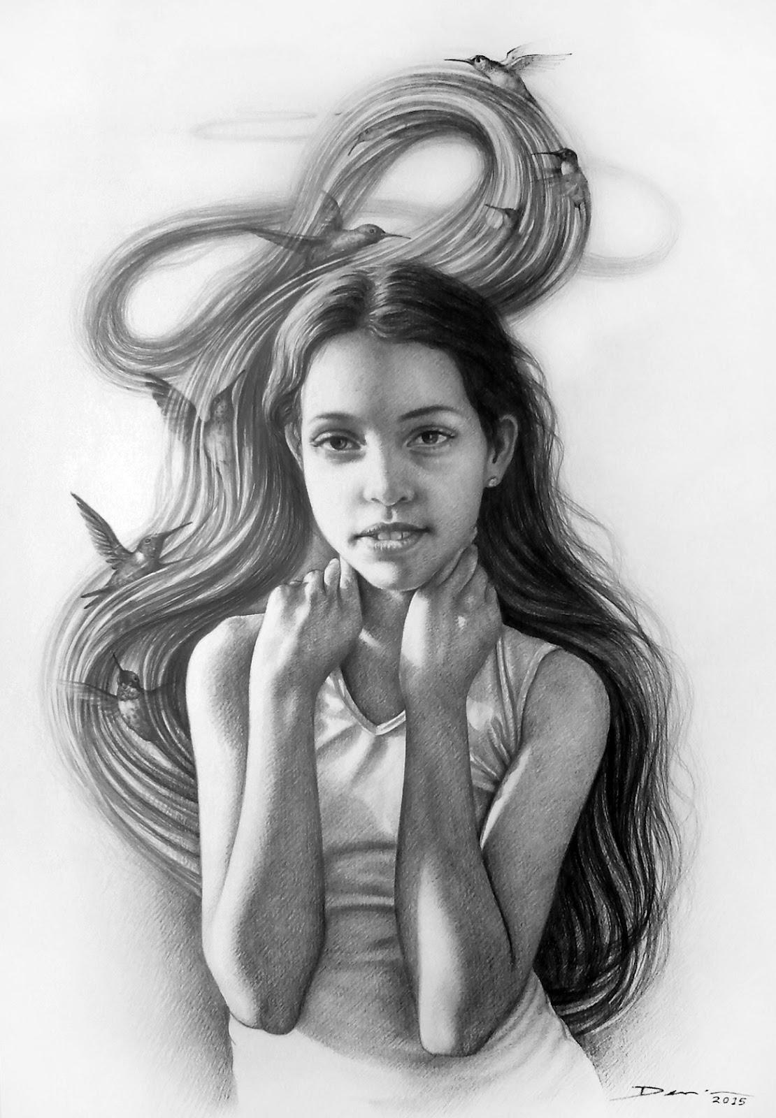 retrato-de-nina-con-grafito