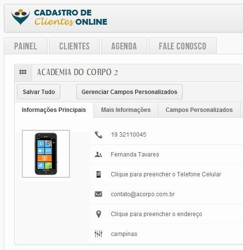 Tela do Cliente dentro do Cadastro de Clientes Online