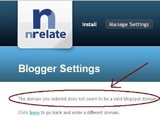 Nrelate Error: The domain is not a valid blogspot domain