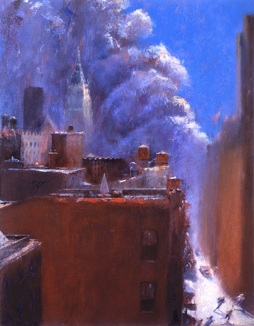 Studio View, 9/11 Oil on Canvas c. 9/11/2001 by David FeBland