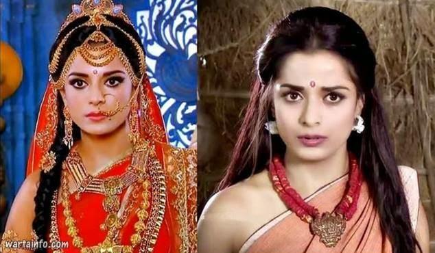 Foto wajah asli Pooja Sharma Artis Seksi India Pemeran Drupadi di Serial Mahabharata ANTV