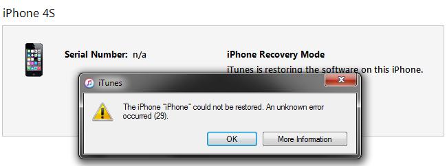 iTunes Error 29 fix