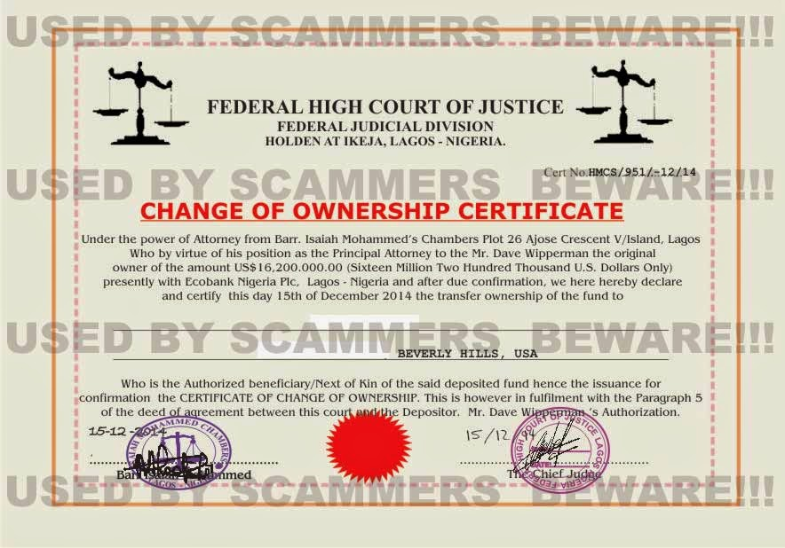 FRAUD FYI: Fake change of ownership document from Barr. Isaiah ...
