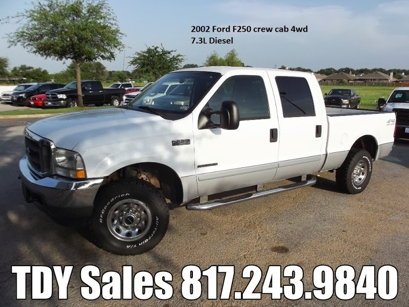 for sale 14 988 2002 ford f250 crew cab 4wd 7 3l diesel call tdy sales 817 243 9840 tdy. Black Bedroom Furniture Sets. Home Design Ideas