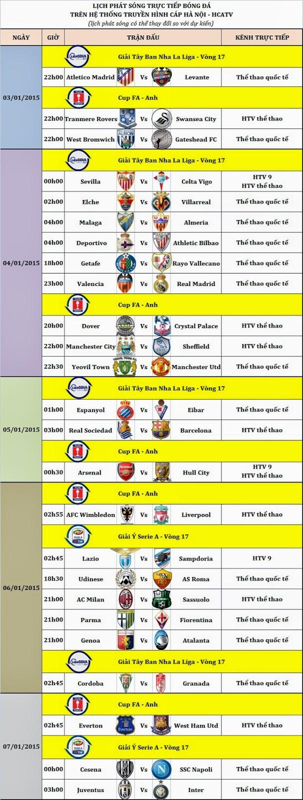 Lịch bóng đá trên HCATV