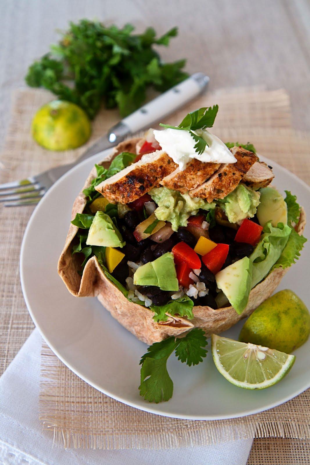 Taco Style Salad In A Tortilla Bowl Recipe — Dishmaps