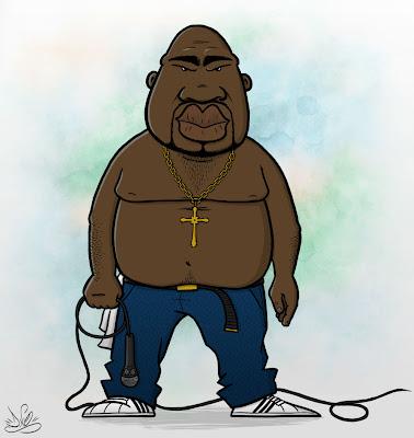 caricatura do cantor de rap eazy kaos