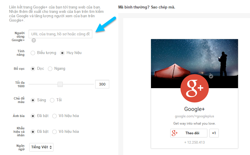 Gan Button Google Plus nhu the nao