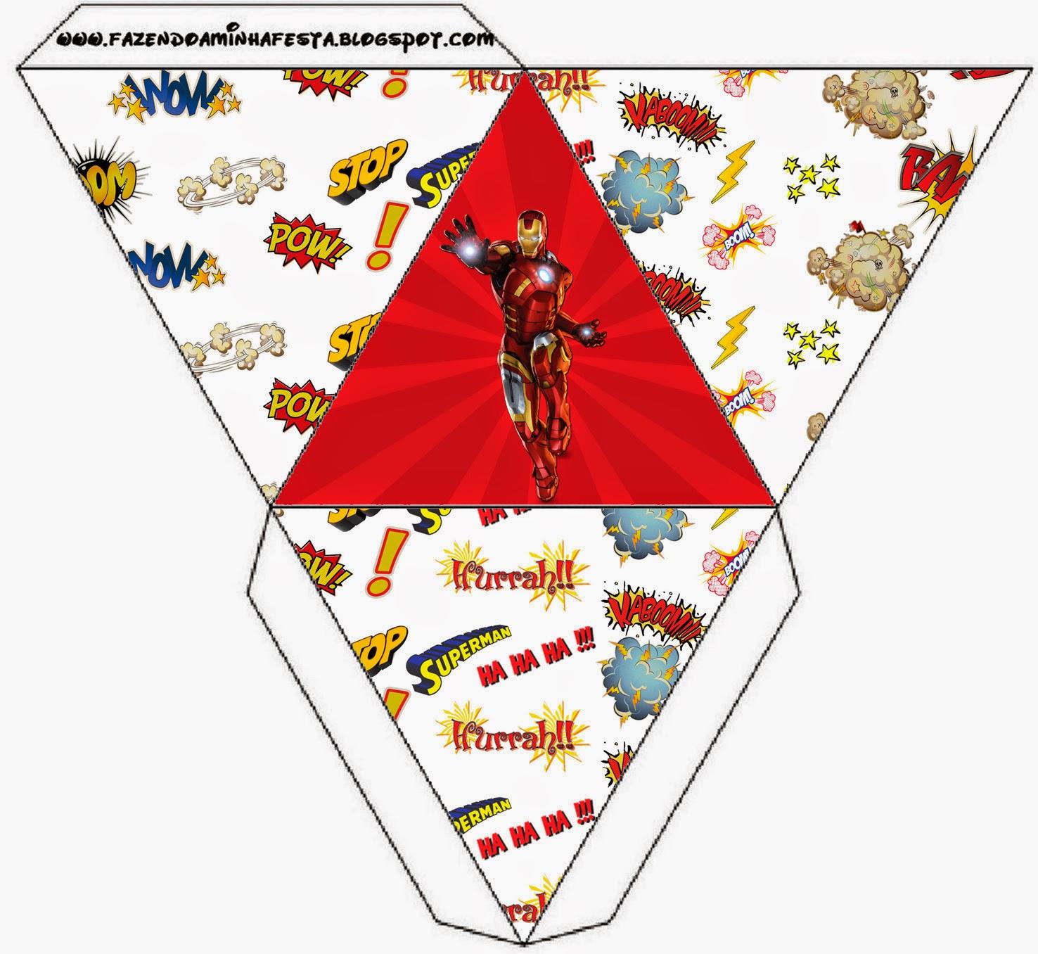 Caja con forma de pirámide de Iron Man.