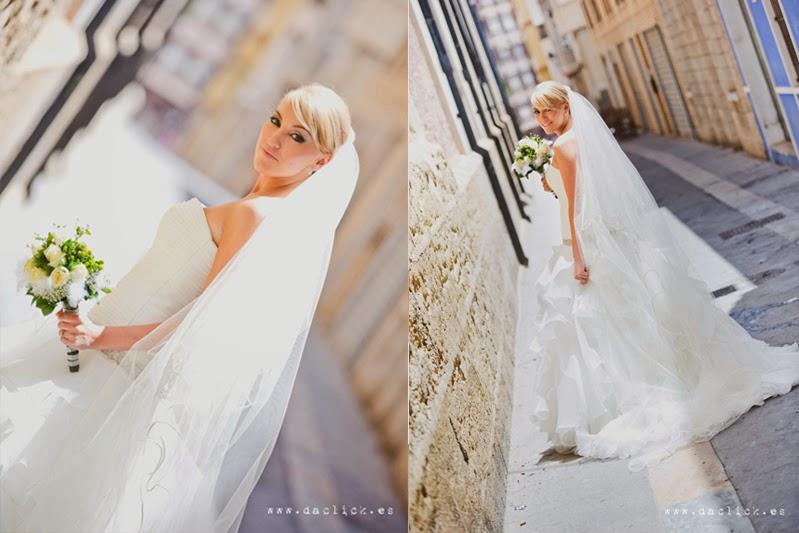 vestido de novia PRONOVIAS y ramo de flores