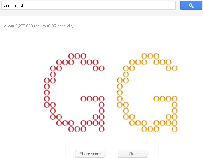 Share score of zerg rush on googlel plus