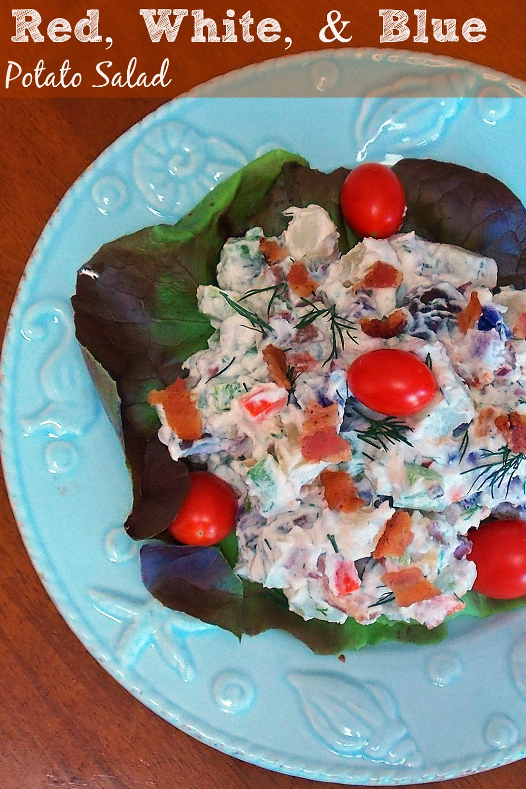Red, White, & Blue Potato Salad #bacon #dill #salad