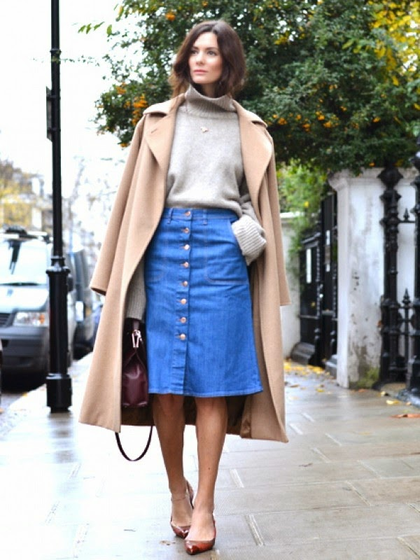 Front buttoned denim skirt Street style winter