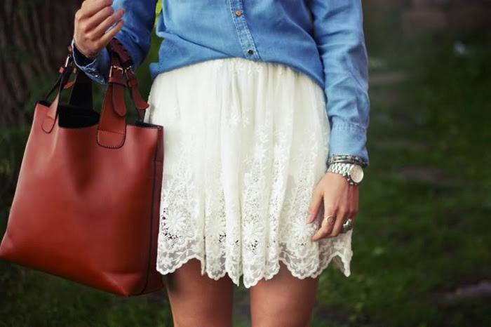 Wearing a Denim Shirt with Lace Skirt for Spring Outfit