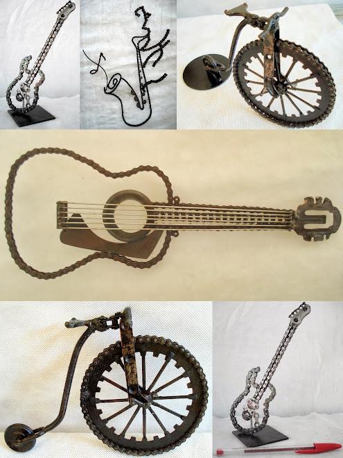 Bicicleta, sax, violão e guitarra.