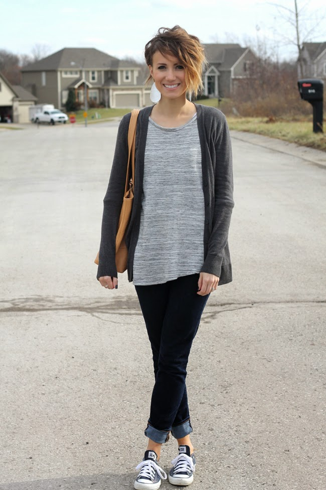 Gray layers, dark denim and navy converse
