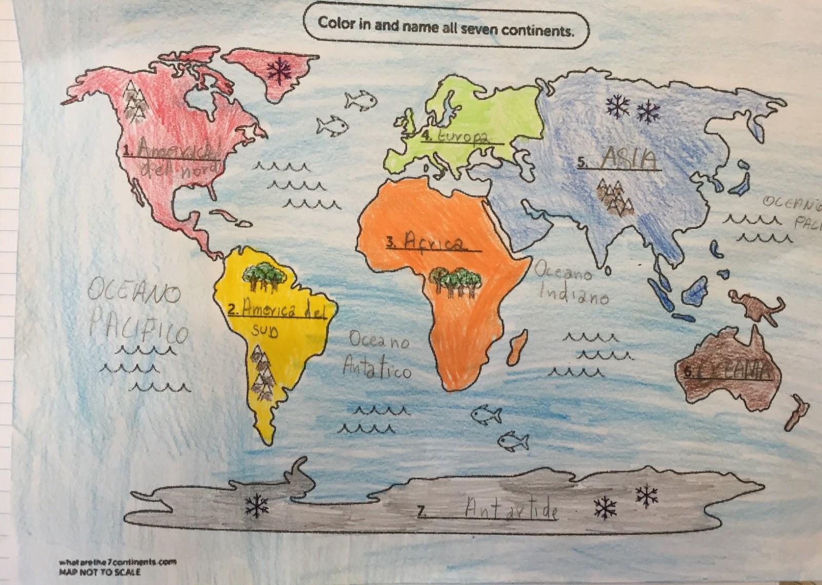 Popolare Diario di scuola: Il planisfero politico e i continenti in 1B Perez YX95