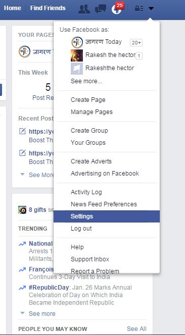 Facebook FB Account ko Sthayi Asthayi Roop se Delete Karen