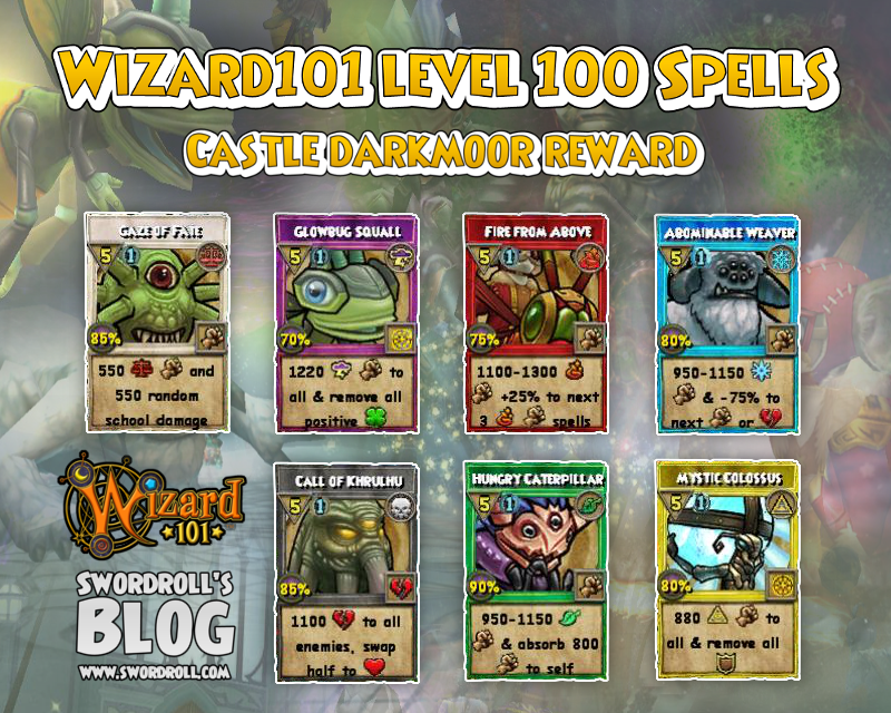 Wizard101 Level 100 Spells - Darkmoor, All Spells