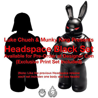 Designer Con 2015 Debut Headspace Black Vinyl Figure by Luke Chueh x Munky King