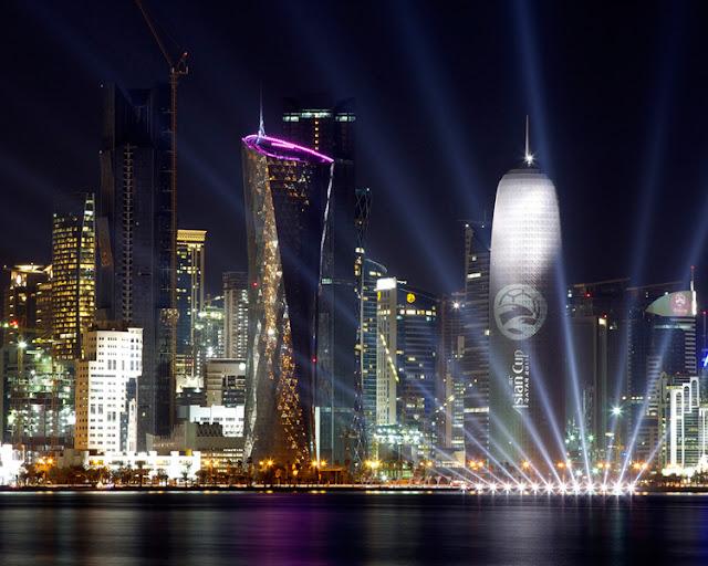 Qatar the shimmering city of lights at night
