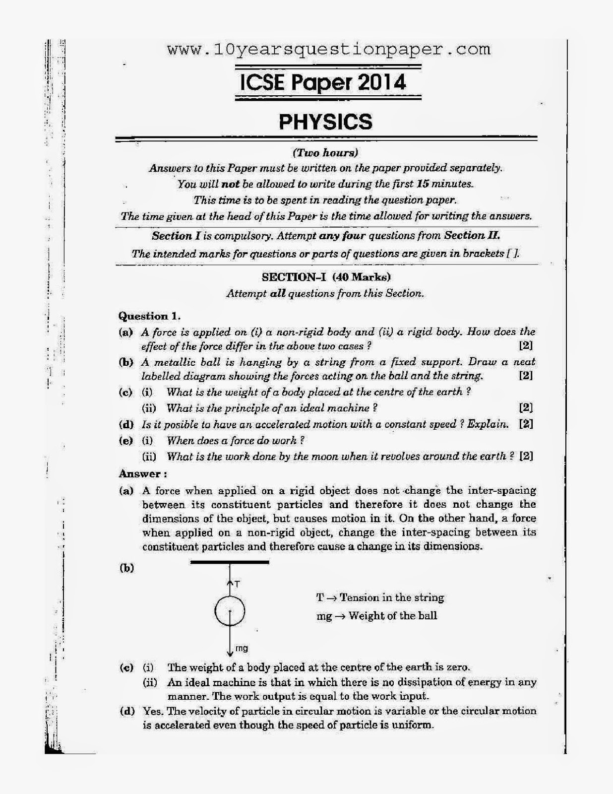 Icse physics exam 2014 class x solved question paper 10 years icse class 10th physics download solved question paper 2014 malvernweather Image collections