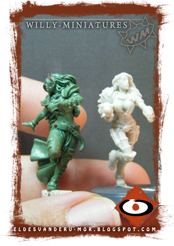Miniature of blood bowl witch elf made by RU-MOR for WILLY Miniatures comparate to Sara the killer. Star Player, witch elf, fantasy football