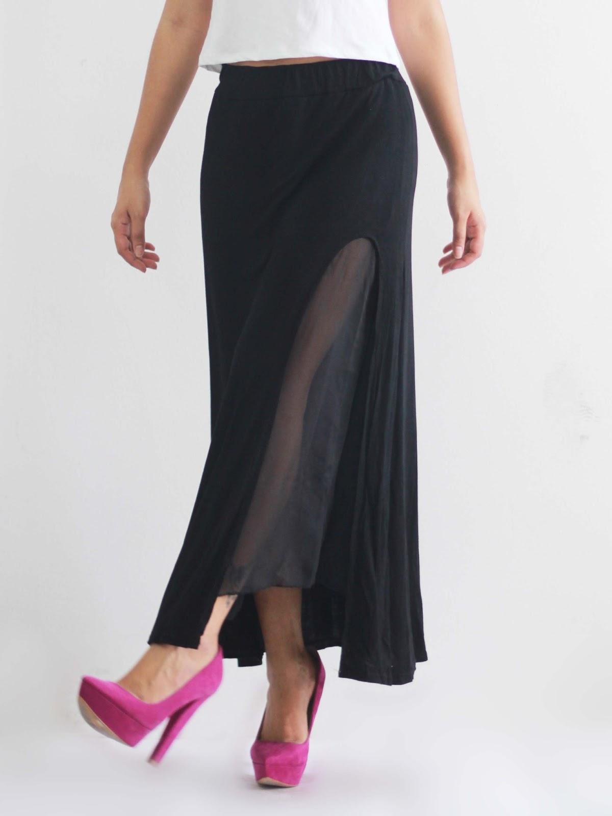 mango orangie high slit maxi skirt with chiffon lining