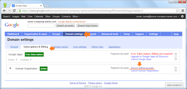 Google Apps: Subscriptions & Billing