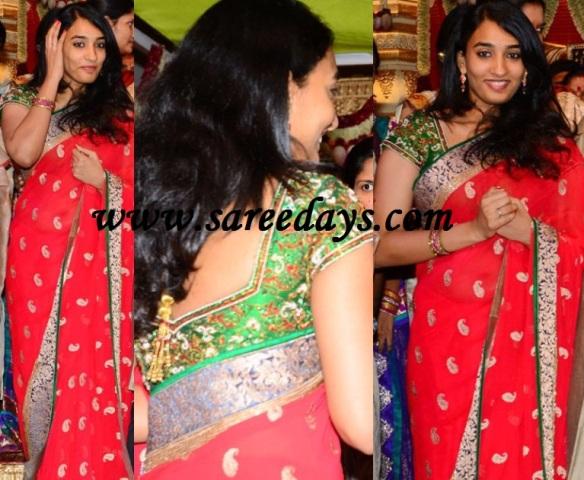 Latest saree designs nani wife in red georgette saree at gopichand nani wife in red georgette saree at gopichand wedding reception altavistaventures Images