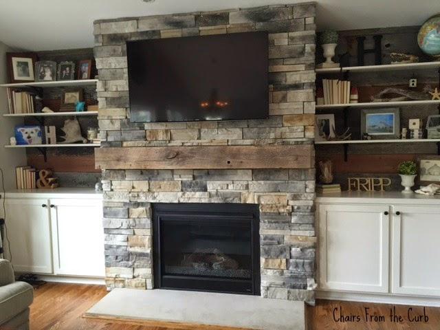 #barnbeammantle #stonefireplace #builtinsaroundfireplace