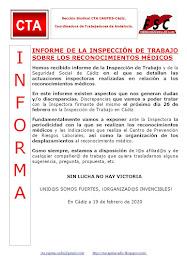INFORME DE LA INSPECCIÓN DE TRABAJO SOBRE LOS RECONOCIMIENTOS MÉDICOS