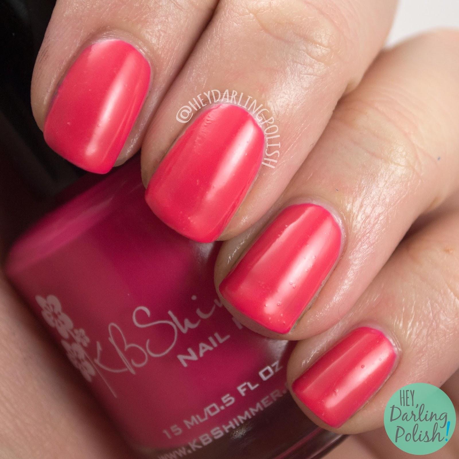 nails, nail polish, kbshimmer, pink, indie polish, let's not coral, creme, swatch