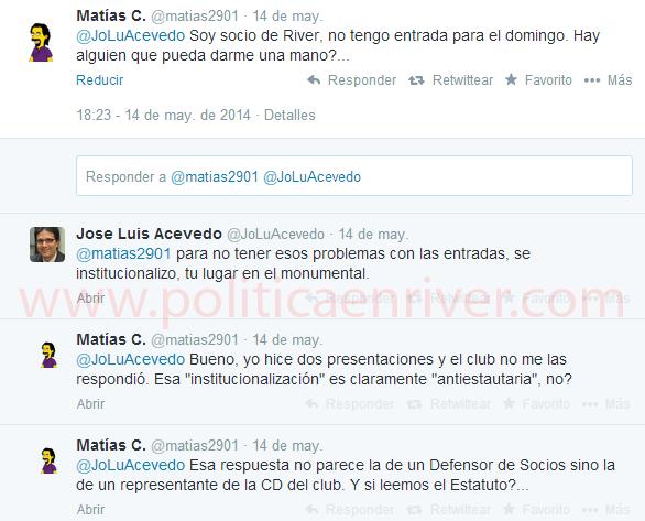 Acevedo, Defensor del Socio, River, River Plate, Abono, Antiestatutario,
