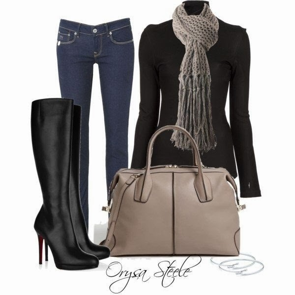 Jeans, grey scarf, black dress, long black boots and handbag for fall