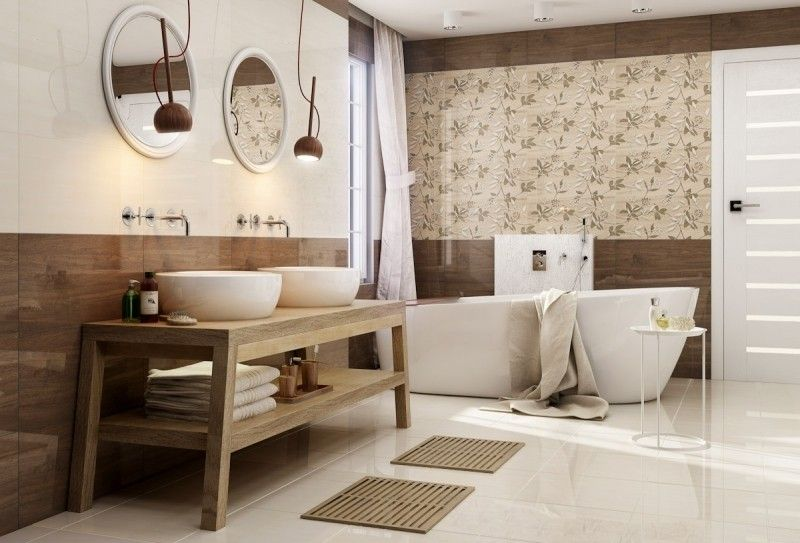 Baños Azulejos Beige:Lindo baño moderno decorado con beige y marrón chocolate en iguales