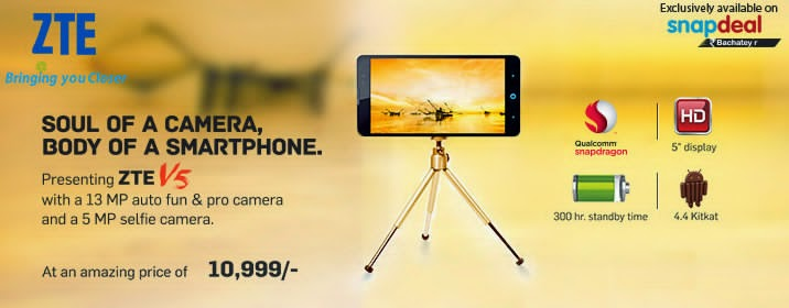 ZTE V5: 5-inch, Android Kitkat Quad-core phone with 13MP camera priced at Rs. 10,999 (around Php 8K)