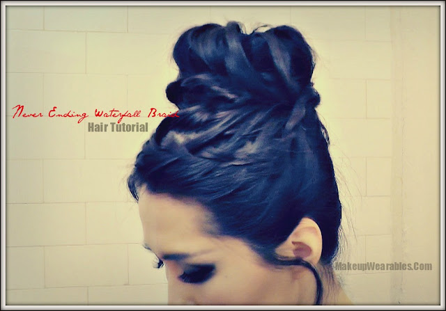 Image24thismarked2 How to Never Ending Upside Down French Braid Bun Hairstyles Tutorial